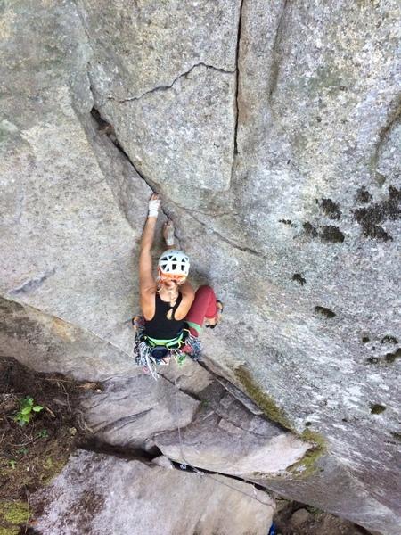 Rock Climbing Photo: Alysse on lower half of crux