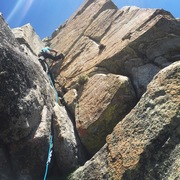 Rock Climbing Photo: Corner of pitch 1 on Orange Book & Orange Sunshine