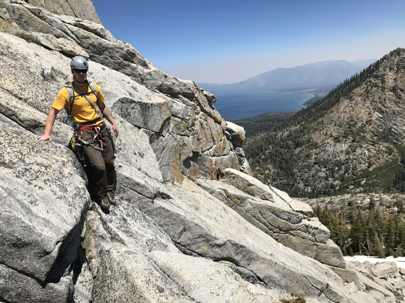 Making our way down the slabs back to the base of the climb. Emerald Bay is just out of view blocked by the rocks.
