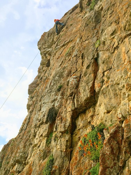 Rock Climbing Photo: My sister enjoying the monster on toprope.