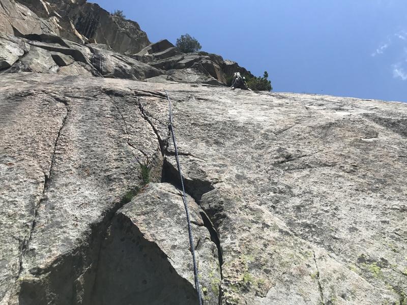 Rock Climbing Photo: Zach traversing across the slab after the splitter...