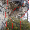 Lower half of the routes left of center on the Glory Hole.