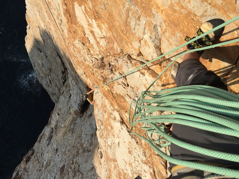view looking down from the top of the second (crux) pitch.