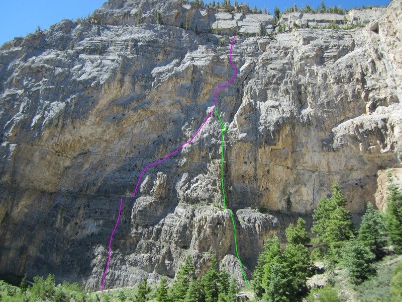 Captain Crumbowl follows the pink lines up and the green lines are the rappel.