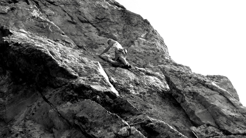Rock Climbing Photo: Final pitch, a few moves above the crux.