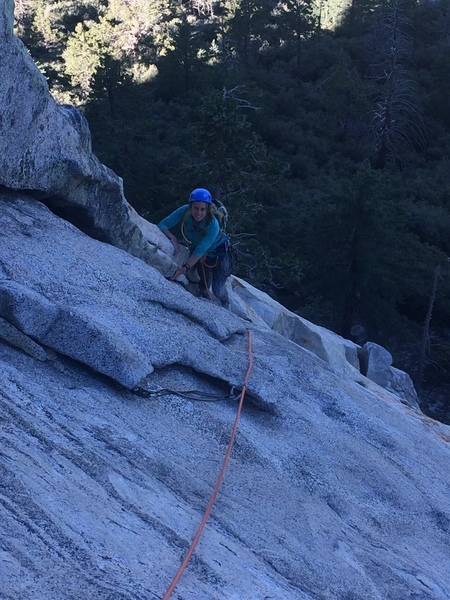 Sierra finishing the second pitch.