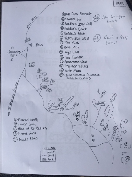 A nice map of the area I got at the rock 'n' roll sport shop in town.