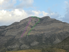Rock Climbing Photo: The pink line is Halidon Spur and the green line i...