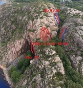 Rock Climbing Photo: This is a rough outline of the Upper Wall routes. ...