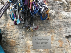 Rock Climbing Photo: Plaque marking the start of the Brewer's Buttress ...