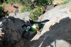 Rock Climbing Photo: Jomah clipping bolts in the awesome dihedral.