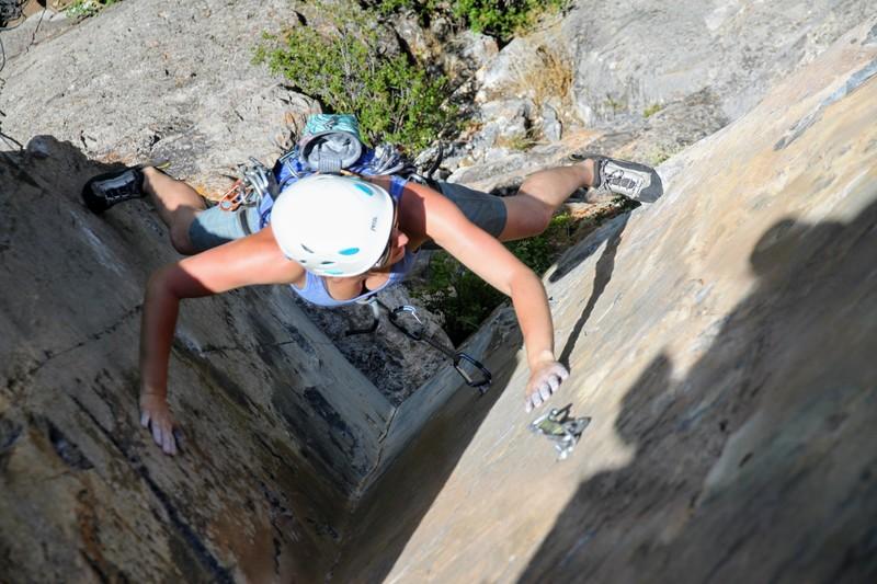 Rock Climbing Photo: Heather leading away on Behind The Fridge.