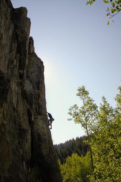 Rock Climbing Photo: Ryan Marsters leading Pocket Protector.