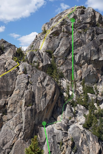 The top of the third pitch, the friction slab, and the final scramble to the top. You can also see the first rap on the tree, and the first of the two bolted rap stations.