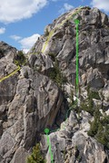 Rock Climbing Photo: The top of the third pitch, the friction slab, and...