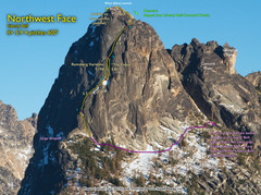 Rock Climbing Photo: Route Overlay for NW Face.