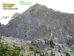 Rock Climbing Photo: Route Overlay for Rampage.