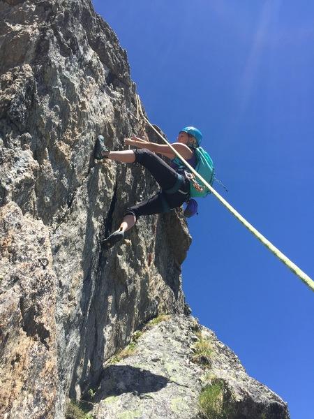 Rock Climbing Photo: Jen Hense on a great lay back move.