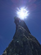 Rock Climbing Photo: Sending the final heavenly pitch to the top!