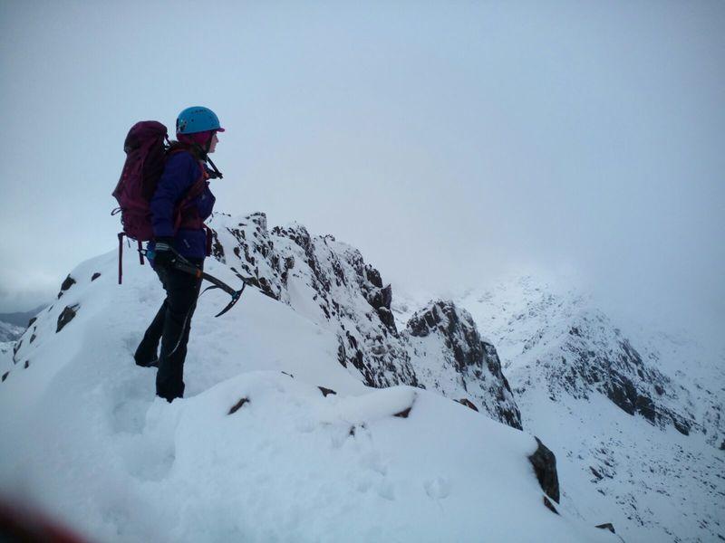 Approaching Crib Goch, Snowdon<br> Winter ridge scramble