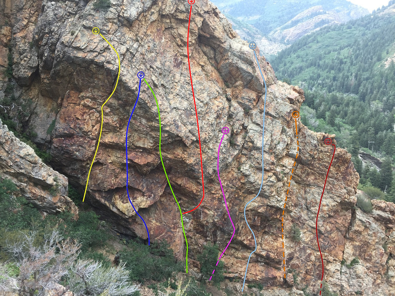 Rock Climbing Photo: Higher Ed Ridge, West, center sector:  Yellow-Dr. ...