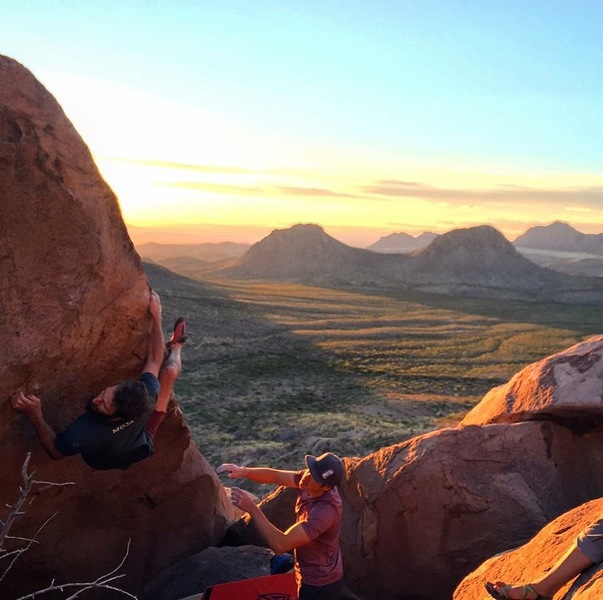 Kevin B. getting the scenic ascent of one of the best climbs at the pizza boulders.