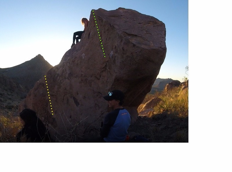 Rock Climbing Photo: The group cooling down at sunset. Yellow line is A...