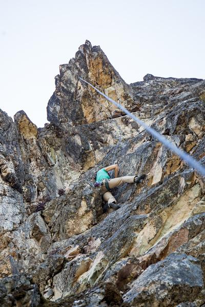 Rock Climbing Photo: Upper half of Happy Trails, 5.10c