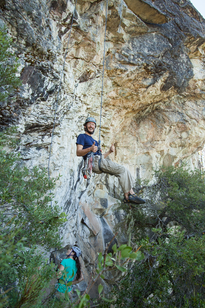 Lowering off after the first ascent. I thoroughly enjoyed this route. I think it will be a great warm up for the wall.