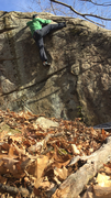 Rock Climbing Photo: The commiting high foot