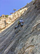 Rock Climbing Photo: Patrick struggling through slabby moves on Rhodian...