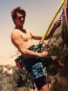 Devils punchbowl 1992.  Hanging belay on followers folly.  Note the f8 belay method
