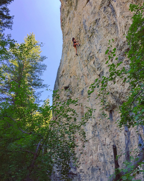 "Karsyn Ansari high on ""Patsy"" 5.12b"