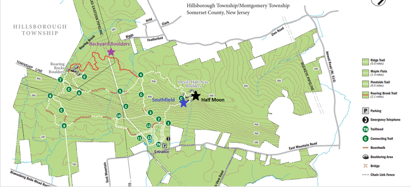 Trail map with bouldering areas added. Southfield begins at start of the connecting trail, Half Moon can be found by continuing right past the connecting trail, and Backyard boulders can be found just off the pipeline past the red trail junction.