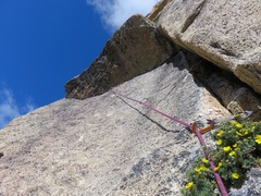 Rock Climbing Photo: 10d/11a roof traverse on Pitch 1.
