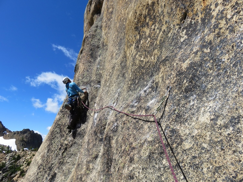 Rock Climbing Photo: Just before the 10b mantle on Pitch 4. Perhaps the...