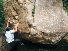 Rock Climbing Photo: Chris trying the start.