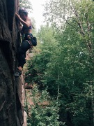 Rock Climbing Photo: Talula working out some tricky sequencing on Nick ...