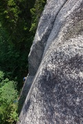 Rock Climbing Photo: Trevor reaching the comfy handcrack at the top of ...