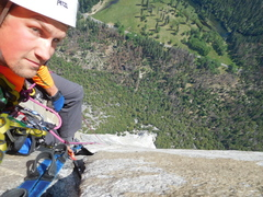 Rock Climbing Photo: C3/A2 splitter up high, cant remember the pitch nu...