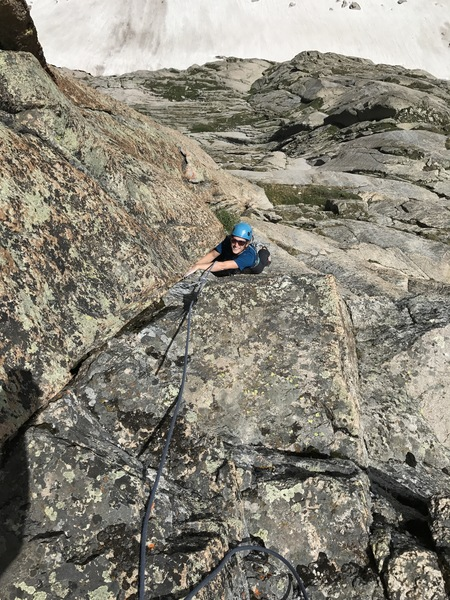 Pitch 7. The Gold Corner. Stellar face, crack, and corner climbing!