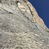 Pitch 6. Nebulous alpine terrain. Traverse 100' right to arrive at the base of the Gold Corner.