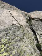 Rock Climbing Photo: Pitch 5. Sharp, jagged, white flake. Awesome climb...