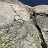 Pitch 5. Sharp, jagged, white flake. Awesome climbing.