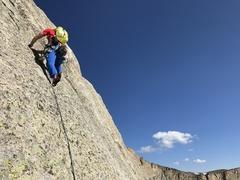 Rock Climbing Photo: Slabbing on Pitch 4.