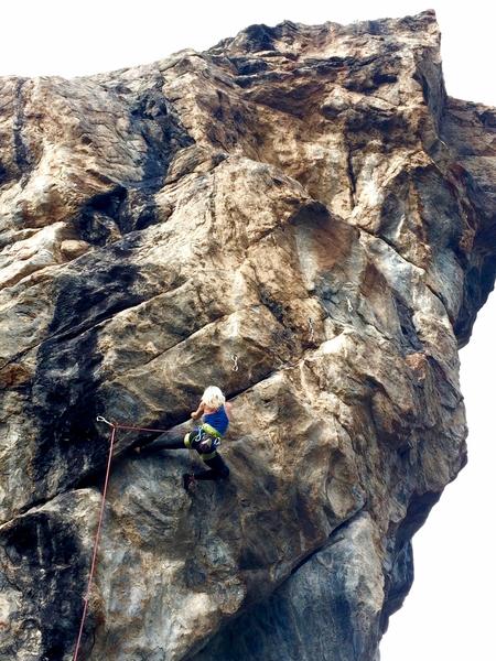 Rock Climbing Photo: Lenore in the Ninja move.  Photo by Tracy Hamm.