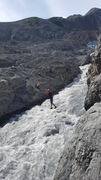 Rock Climbing Photo: Dalton crossing the tyrolean Traverse on the way h...