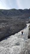 Rock Climbing Photo: Dalton playing on the tyrolean Traverse while keep...