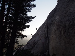 climbers rappelling the route