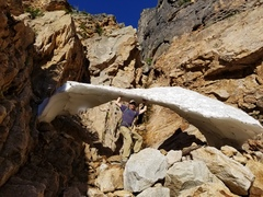 An ephemeral arch, it had collapsed by the time we came back down the gully.